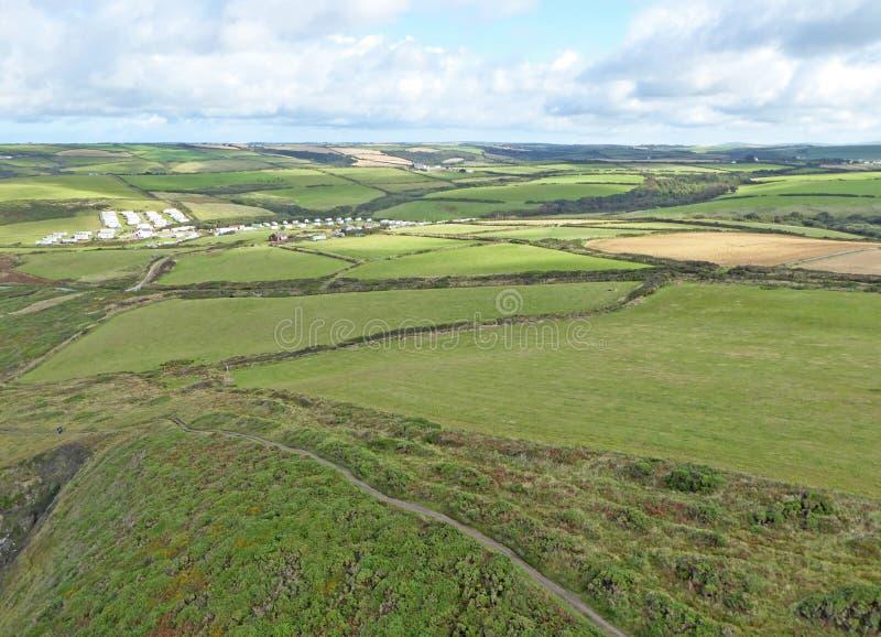 Widok z lotu ptaka na klify Newgale, St Brides Bay, Walia obrazy royalty free