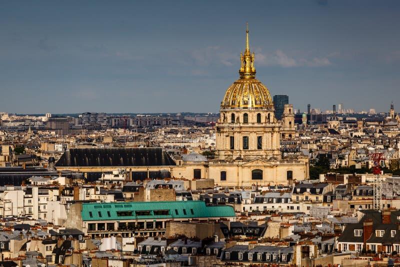 Widok Z Lotu Ptaka na Les Invalides od wieży eifla, Paryż obrazy stock