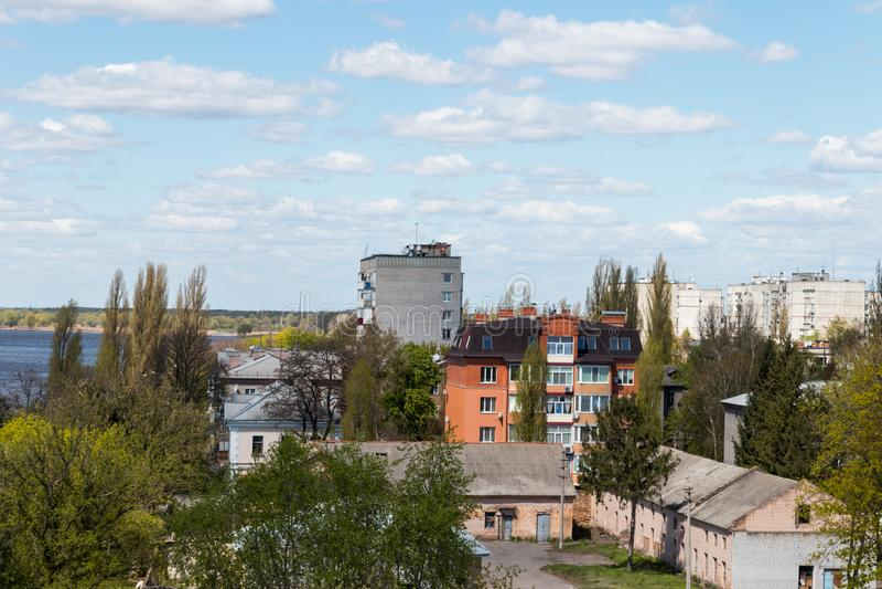 Widok z lotu ptaka na mieście Kremenchug w Ukraina fotografia stock
