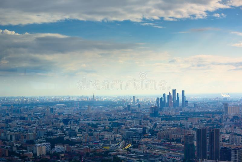 Widok z lotu ptaka na Moskwa miasta centrum biznesu fotografia stock