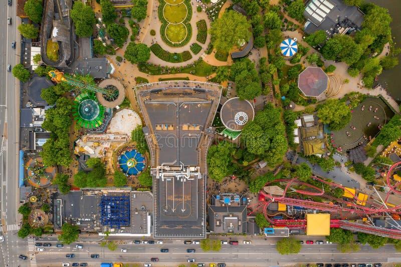 Widok z lotu ptaka na park rozrywki w ogrodzie Tivoli zdjęcie royalty free