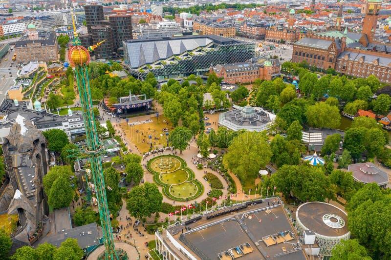 Widok z lotu ptaka na park rozrywki w ogrodzie Tivoli zdjęcia royalty free