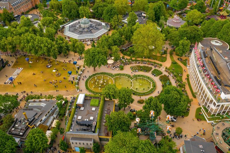 Widok z lotu ptaka na park rozrywki w ogrodzie Tivoli obrazy stock