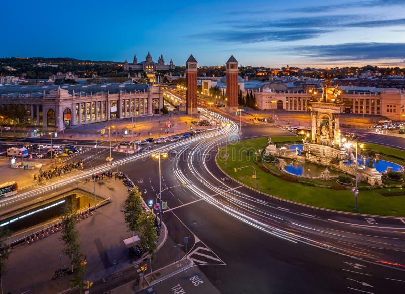 Widok Z Lotu Ptaka na Placa Espanya i Montjuic wzgórzu obrazy royalty free