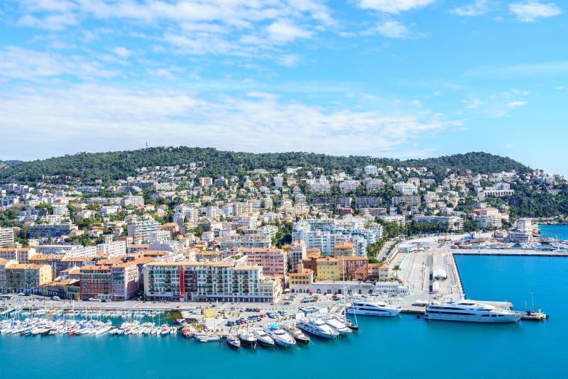 Widok Z Lotu Ptaka na porcie Ładni i Luksusowi jachty, Francuski Riviera obraz royalty free