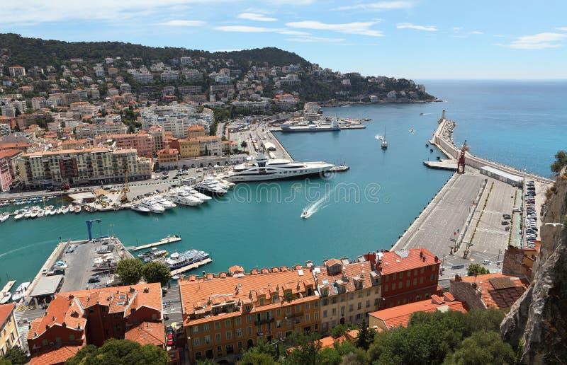 Widok Z Lotu Ptaka na porcie Ładni i Luksusowi jachty, Francuski Riviera, Francja cote d ' azur zdjęcia royalty free