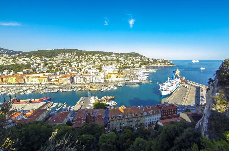 Widok Z Lotu Ptaka na porcie Ładny, Francuski Riviera, Francja zdjęcie stock