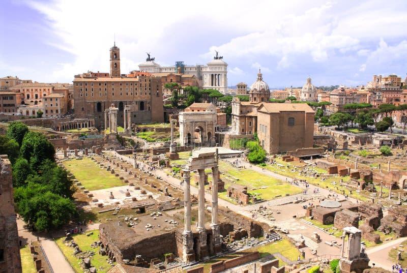 Widok z lotu ptaka na Romańskim forum, Rzym, Włochy zdjęcia royalty free