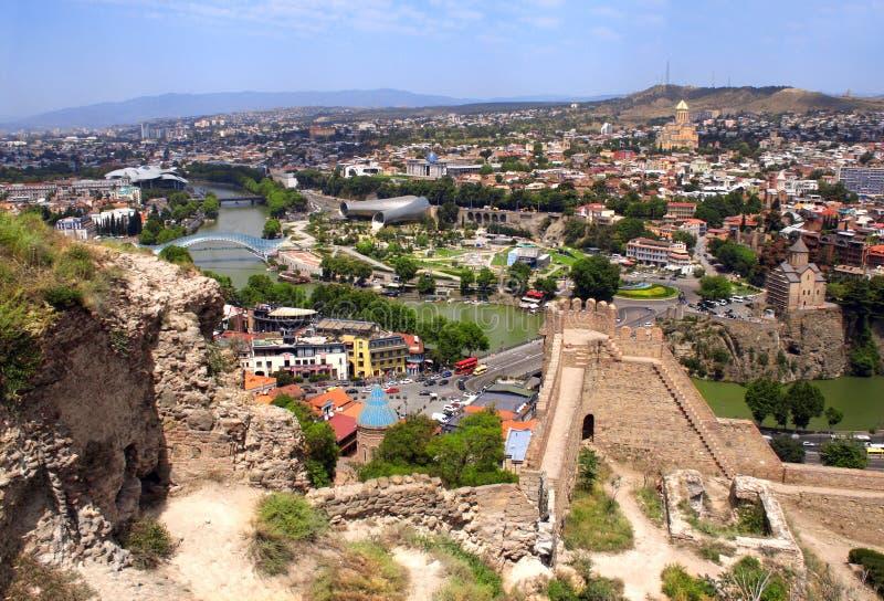 Widok z lotu ptaka na Tbilisi, Gruzja zdjęcia stock