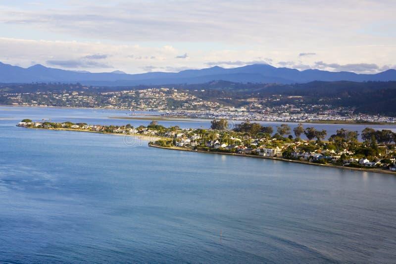 Widok z lotu ptaka na wyspę Leisure i wyspę Thesen, Knysna zdjęcia stock