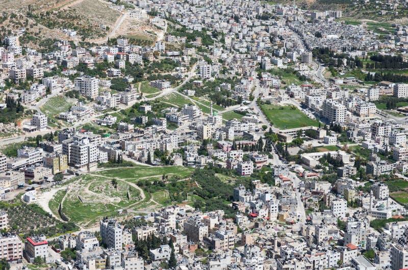 Widok z lotu ptaka Nablus fotografia stock