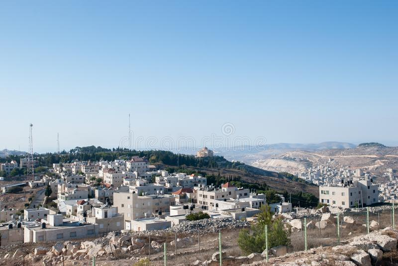 Widok z lotu ptaka Nablus miasto Shechem od Gerizim góry obraz stock