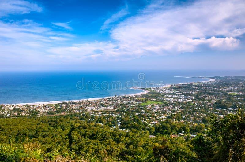 Widok Z Lotu Ptaka Nabrzeżny miasto Wollongong w Australia obraz stock