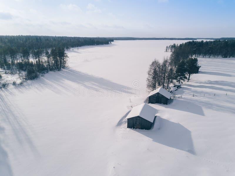 Widok z lotu ptaka nad śnieżnym jeziorem i zima lasem zdjęcie royalty free