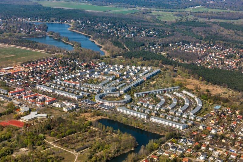 Widok z lotu ptaka nad Falkensee, Berliński przedmieście, Niemcy zdjęcie royalty free