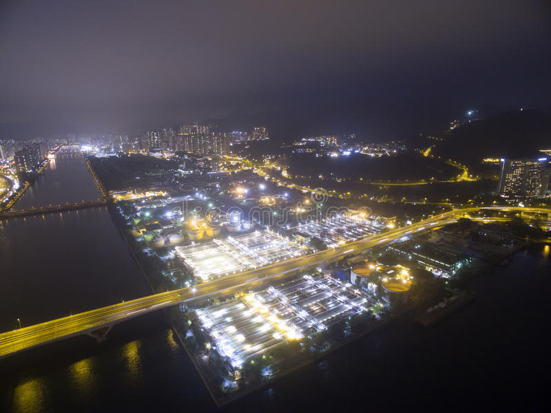 Widok z lotu ptaka nad Shatin w Hong Kong zdjęcia stock