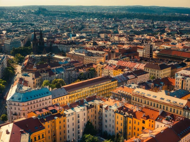 Widok z lotu ptaka namesti miru kwadrat w Prague zdjęcie royalty free
