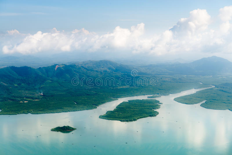 Widok z lotu ptaka namorzynowi lasy fotografia stock