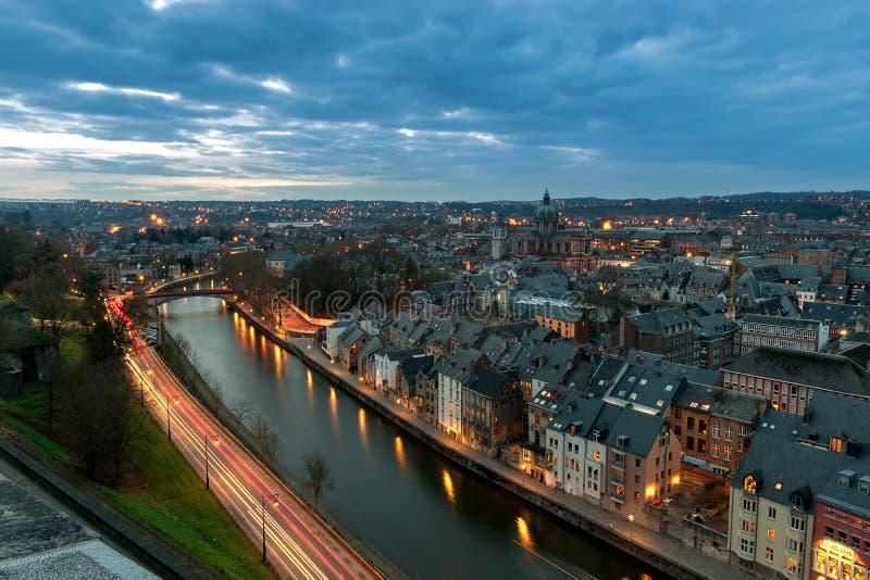 Widok z lotu ptaka Namur na zmierzchu Belgia fotografia royalty free