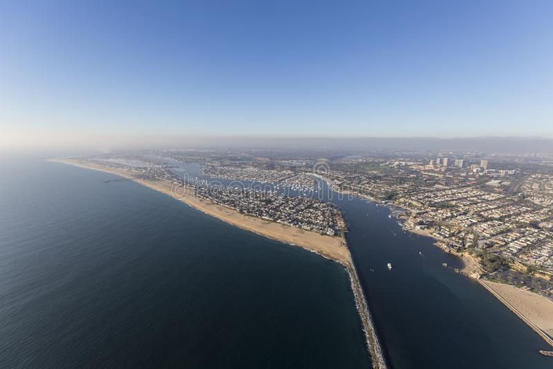 Widok Z Lotu Ptaka newport beach balboa zatoka w Południowym Kalifornia zdjęcie stock