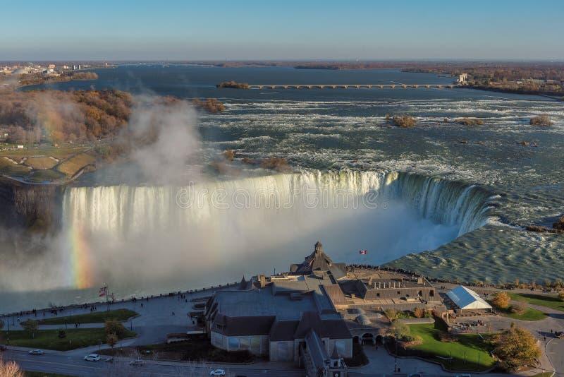 Widok z lotu ptaka Niagara Spada przy zmierzchem, Kanada fotografia stock