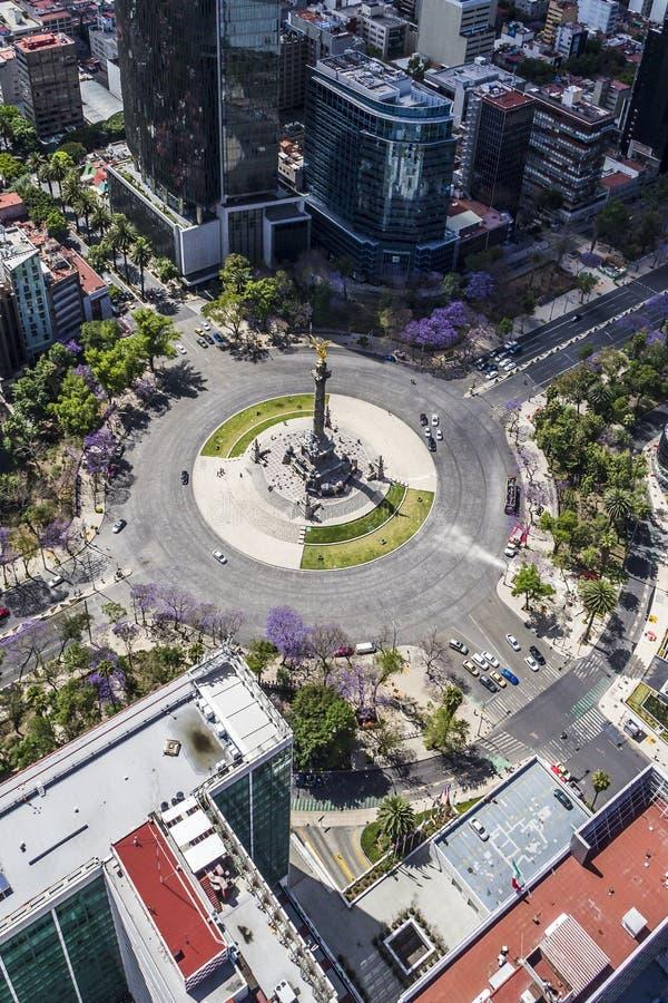 Widok z lotu ptaka niezależność anioła zabytek w Mexico - miasto zdjęcia stock