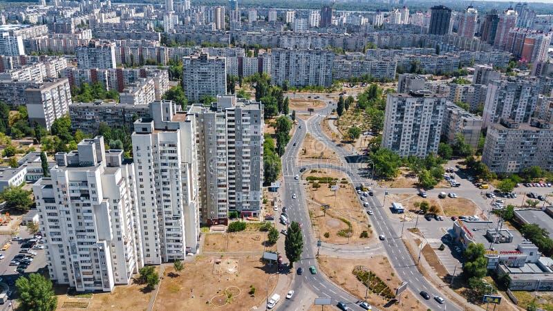 Widok z lotu ptaka nowy nowożytny mieszkaniowy Obolon okręg w Kijowskim mieście od above, Kyiv, Ukraina fotografia royalty free