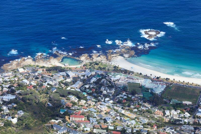 Widok Z Lotu Ptaka obóz zatoki linia brzegowa Południowa Afryka zdjęcie royalty free