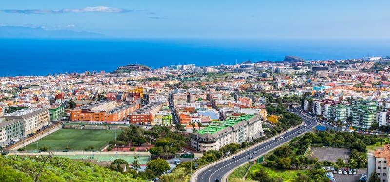 Widok z lotu ptaka obszar zamieszkały miasteczko na Tenerife, Może obrazy royalty free
