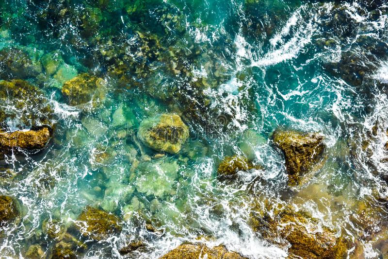 Widok z lotu ptaka ocean fale, wodny t?o zdjęcia stock