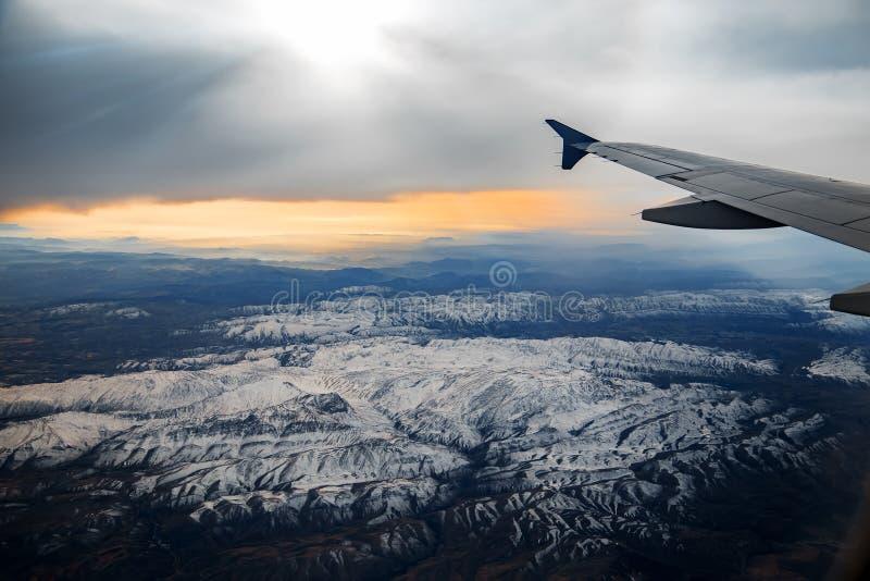 Widok z lotu ptaka od lotniczego samolotu góry obrazy royalty free