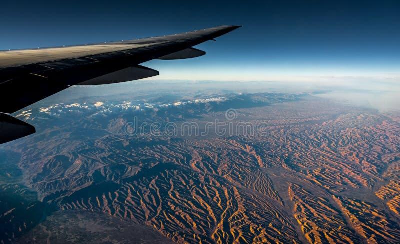 Widok z lotu ptaka od samolotu obraz stock