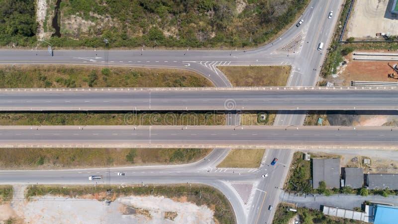 Widok z lotu ptaka od trutnia strzelającego autostrady droga obrazy royalty free