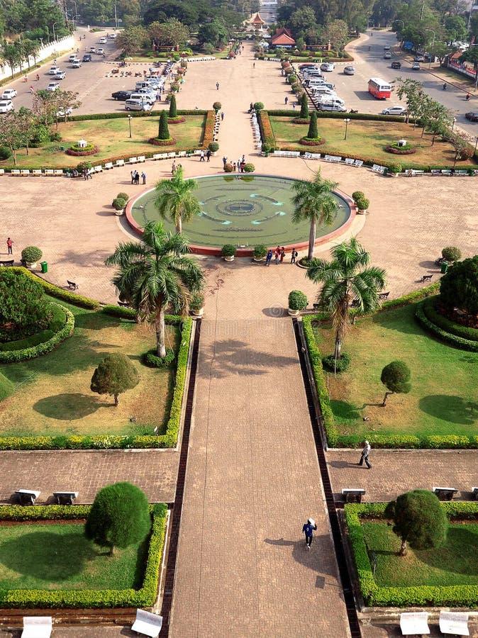 Widok z lotu ptaka Odgórny widok Vientiane od Patuxai zabytku zdjęcia stock