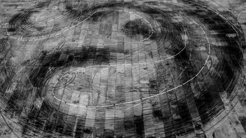 Widok z lotu ptaka opona zaznacza tło na biegowym śladzie, tekstura opon oceny fotografia stock