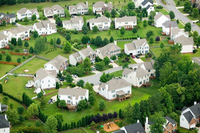 Widok z lotu ptaka osiedle mieszkaniowe zdjęcie stock