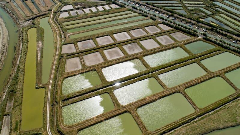 Widok z lotu ptaka ostrygi uprawia ziemię w Marennes, Charente Morski fotografia stock