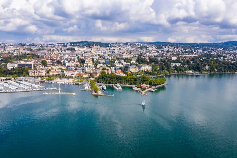 Widok z lotu ptaka Ouchy nabrzeże w Lausanne Szwajcaria zdjęcie stock