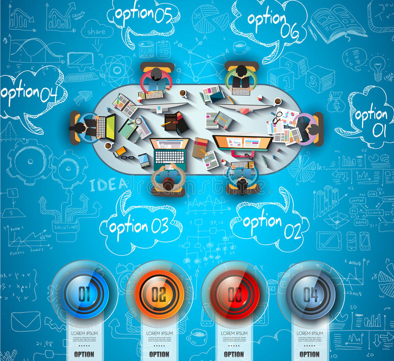 Widok z lotu ptaka płaski stylowy spotkanie stół Infographic z ludźmi biznesu brainstorming royalty ilustracja