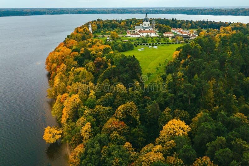 Widok z lotu ptaka park w jesieni zdjęcie stock