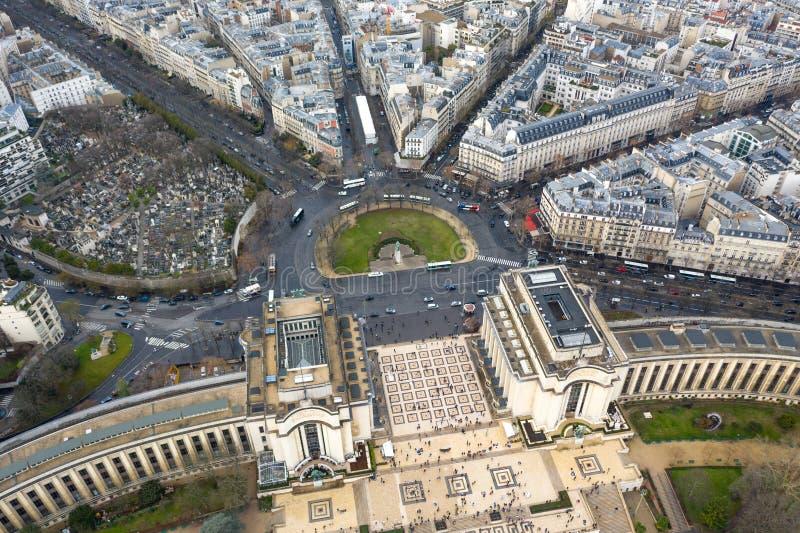 Widok Z Lotu Ptaka Paryskie miasto ulicy wokoło Trocadero kwadrata zdjęcie stock