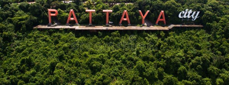 Widok z lotu ptaka Pattaya miasta znak obraz royalty free