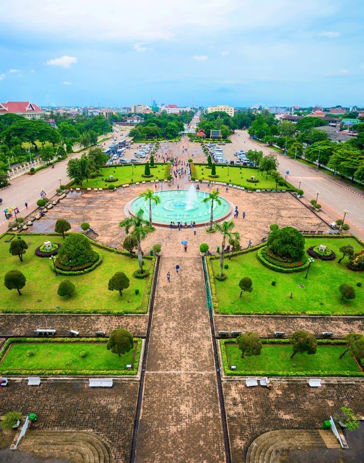 Widok z lotu ptaka Patuxay park w Vientiane, Laos zdjęcie royalty free