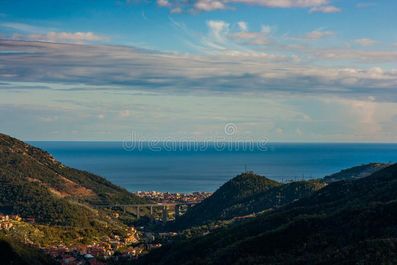 Widok z lotu ptaka Pietra Ligure, Liguria fotografia royalty free