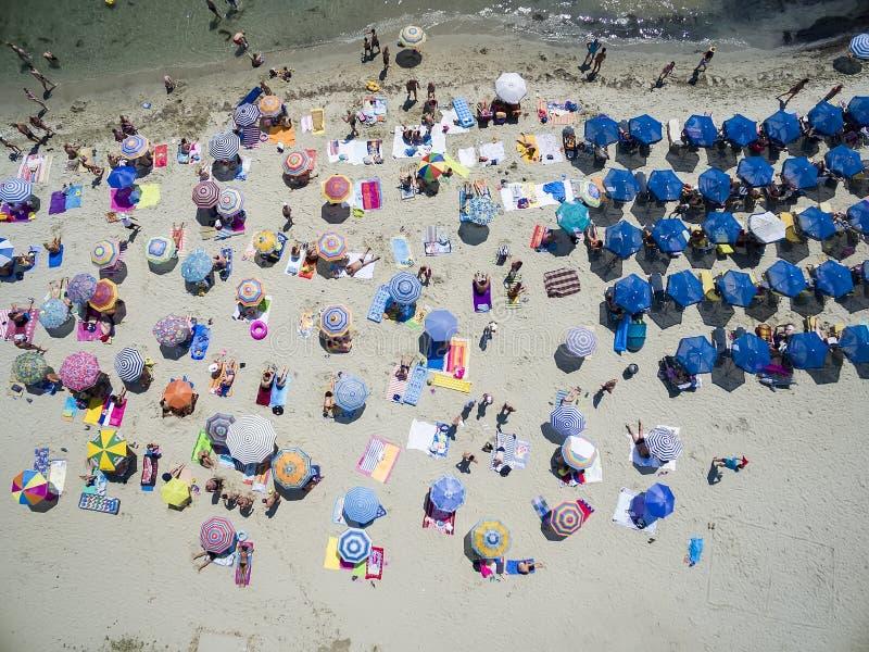 Widok z lotu ptaka plaża w Katerini, Grecja zdjęcie royalty free