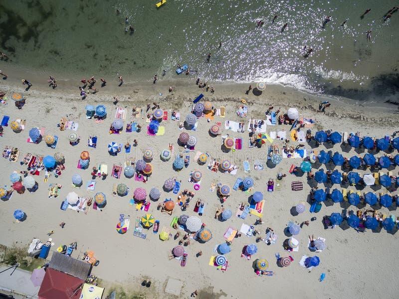 Widok z lotu ptaka plaża w Katerini, Grecja fotografia stock