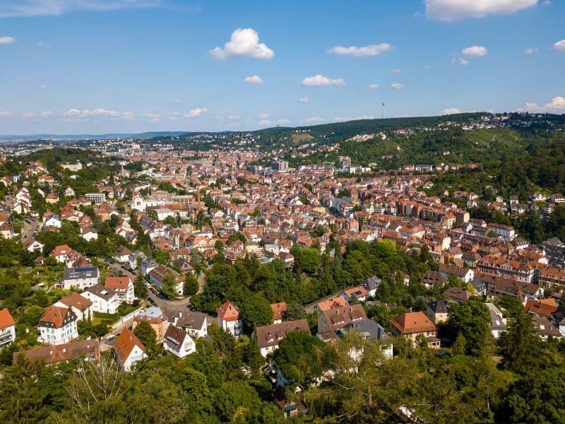 Widok z lotu ptaka południowe części Stuttgart zdjęcie stock