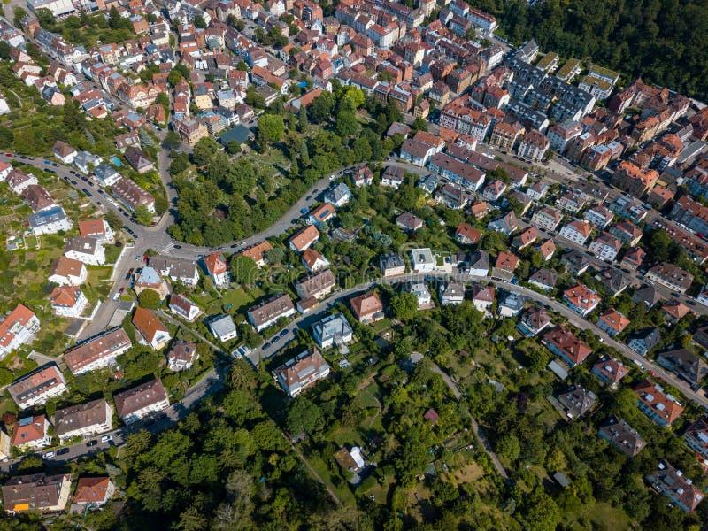 Widok z lotu ptaka południowe części Stuttgart zdjęcie royalty free