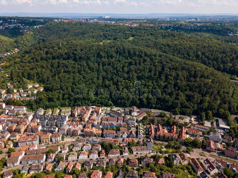 Widok z lotu ptaka południowe części Stuttgart fotografia stock