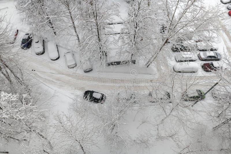 Widok z lotu ptaka podczas ciężkiego opadu śniegu obrazy royalty free